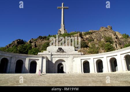 San Lorenzo del Escorial (Community of Madrid) Spain. Access to the Valley of the Fallen. - Stock Photo