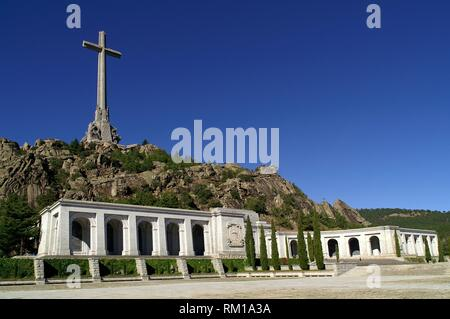 San Lorenzo del Escorial (Madrid). Side view of the Valley of the Fallen in the Community of Madrid. - Stock Photo