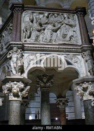 Pisa (Italy). Architectural detail of the Pulpit by Nicola Pisano in the interior of the Baptistery of the Cathedral Square of Pisa. - Stock Photo