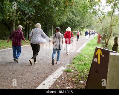 Pilgrims walking in the direction of Santiago de Compostela, along the French Route of the Camino de Santiago in Palas de Rei, Lugo. Galicia, Spain. - Stock Photo