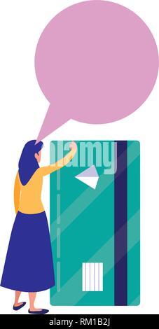 woman bank card online shopping market vector illustration - Stock Photo