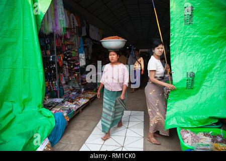 Market in the Shwezigon pagoda, Nyaung-U village, Bagan village area, Mandalay region, Myanmar, Asia - Stock Photo
