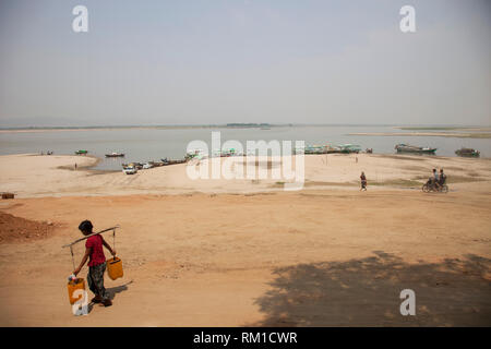 Ayeyarwaddy river, Old Bagan village, Mandalay region, Myanmar, Asia - Stock Photo