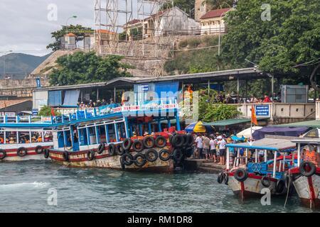 Fishing boats on Cai River, Nha Trang City, Vietnam, Indochina, Southeast Asia, Asia. - Stock Photo
