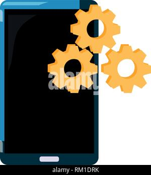 smartphone gears setting on white background vector illustration - Stock Photo