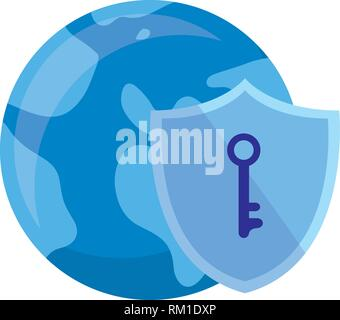 world shield protection key data security vector illustration - Stock Photo