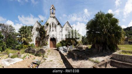 A derelict church in Bathsheba. This church is called St. Joseph's Parish Church. - Stock Photo