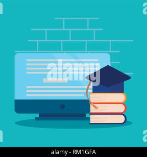 computer graduation hat books online education vector illustration - Stock Photo