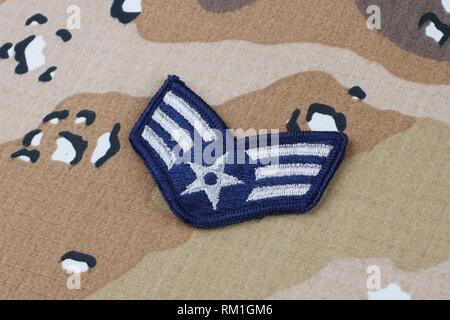 May 12, 2018. US AIR FORCE Senior Airman rank patch on Desert Battle Dress Uniform - Stock Photo