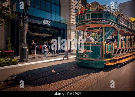 Classic Tram in The Grove Area- Los Angeles, CA (EEUU). - Stock Photo