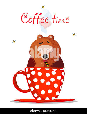 Coffee Time Illustration. Cute Cartoon Teddy Bear Character Sit In Red Mug with Polka Dots Pattern and Eating Sweet Honey with Paw. Bees Fly Around. H - Stock Photo