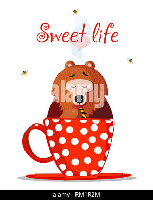 Sweet Life Illustration. Cute Cartoon Teddy Bear Character Sit In Red Mug with Polka Dots Pattern and Eat Honey with Paw. Bees Fly Around. Heart in St - Stock Photo