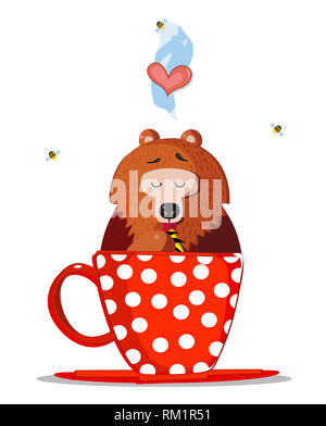 Cute Cartoon Teddy Bear Character Sitting Inside of Red Cup with Polka Dots Pattern and Licking Paw with Sweet Honey. Bees Fly Around. Heart in Steam  - Stock Photo