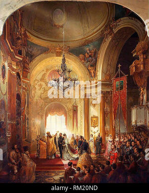 Wedding of Grand Duchess Maria Alexandrovna of Russia and Prince Alfred, 23 January 1874. - Stock Photo