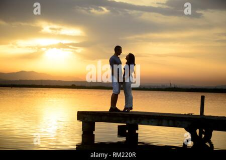 The natural park of l'Albufera is a typical place where people go to the sun gate and couples go to take photos - Stock Photo
