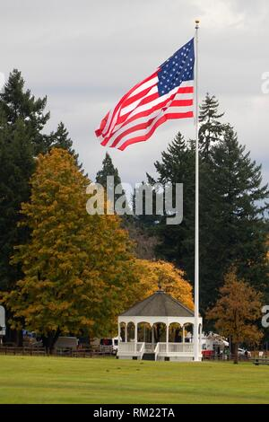 Bandstand with American flag, Fort Vancouver National Historic Site, Vancouver National Historic Reserve, Washington. - Stock Photo