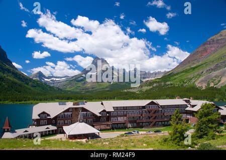 Many Glacier Hotel to Mount Wilbur, Glacier National Park, Montana.