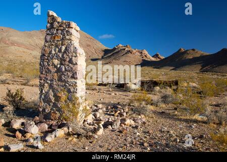 Town ruins, Rhyolite Historic Site, Tonopah District Bureau of Land Management, Nevada. - Stock Photo