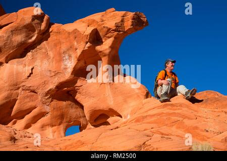 Redstone outcrop, Lake Mead National Recreation Area, Nevada. - Stock Photo