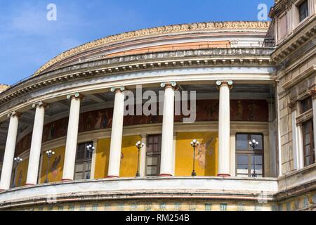 Theatre Politeama Garibaldi in square Ruggero Settimo. Palermo, Sicily. Italy. - Stock Photo