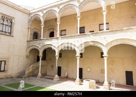 Patio of the Abatellis palace. Palermo, Sicily. Italy. - Stock Photo