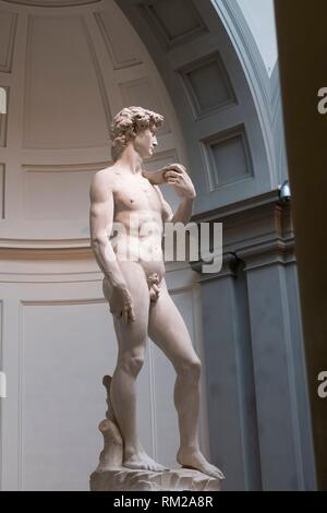 Michelangelos' world famous sculpture of David in three quarter view, framed by the architectural dome and grey columns of the Accademia Gallery, - Stock Photo