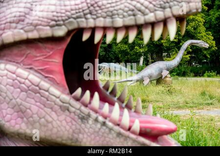 SCHIEDAM - Press preview of Jurassic Kingdom in The Netherlands. Jurassic Kingdom: Where Dinosaurs Come To Life, continues its UK & European Tour. - Stock Photo