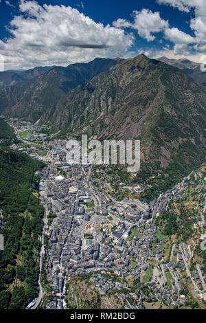 Andorra la Vella, Andorra - Aerial - Stock Photo