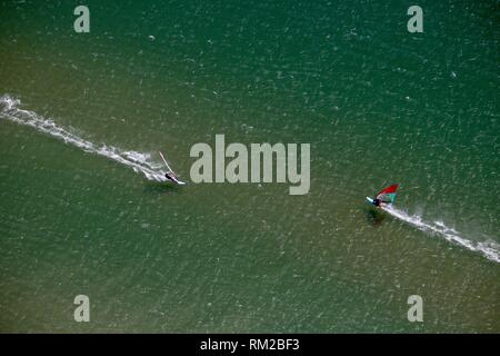 Kite Surfers near Beziers, France in the Mediterranean during Tramontane Wind - Aerial - Stock Photo