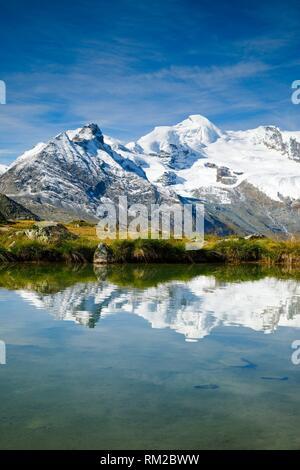 Allalinhorn - 4027m, mountain lake, Switzerland. - Stock Photo