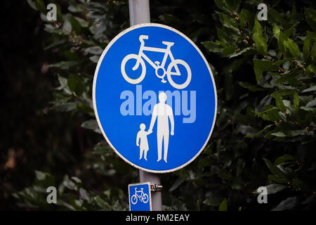Pedestrian and cycle sign - Stock Photo