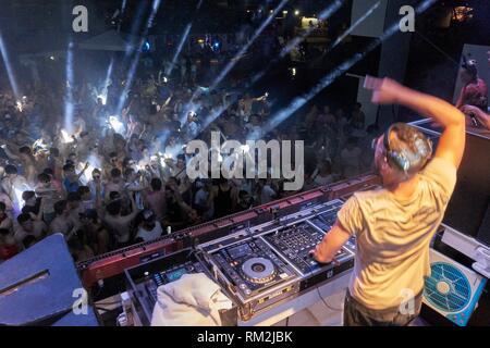 DJ Sebastian Bronk playing at music festival Starbeach in Hersonissos, Crete, Greece, on 14. July 2017 - Stock Photo