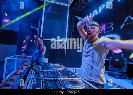 DJ Sebastian Bronk playing at music festival Starbeach in Hersonissos, Crete, Greece, on 14. July 2017 - Stock Photo