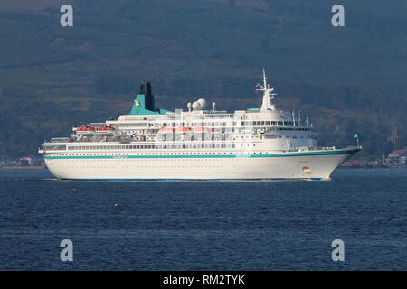 MS Albatros, a cruise ship operated by Phoenix Reisen, passing Gourock on an inbound journey to Greenock on the Firth of Clyde. - Stock Photo
