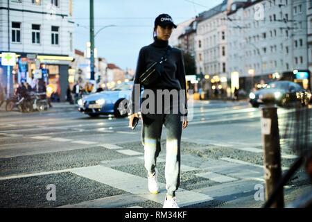 blogger woman walking in Berlin, Germany