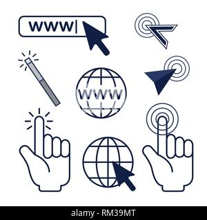 set arrow mouse cursor and global connection - Stock Photo