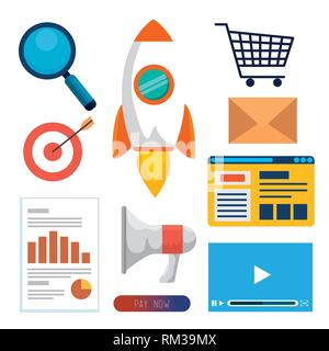 set business office with website data information - Stock Photo
