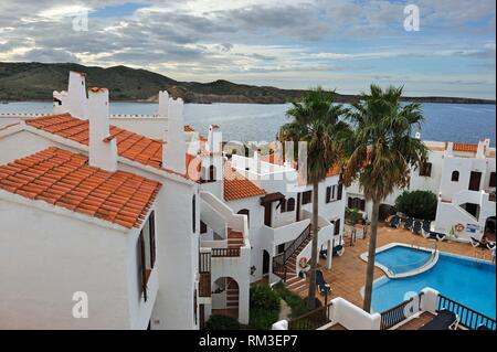 Tramontana Park Hotel at Platges de Fornells, seaside resort, Menorca, Balearic Islands, Spain, Europe. - Stock Photo