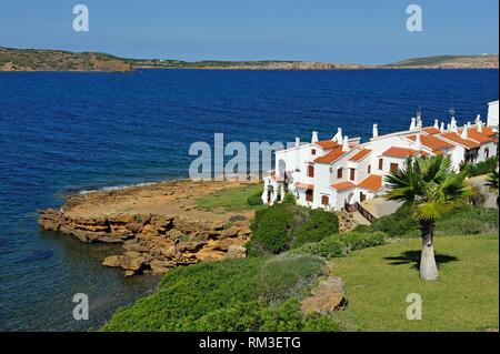 holiday villas at Platges de Fornells, seaside resort, Menorca, Balearic Islands, Spain, Europe. - Stock Photo