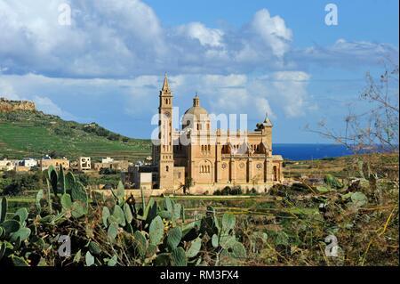 Basilica of the National Shrine of the Blessed Virgin of Ta´ Pinu, Gharb, Gozo Island, Malta, Mediterranean Sea, Southern Europe. - Stock Photo