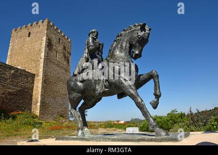 Equestrian statue of Ibn Qasi, governor of the Taifa of Mertola in 12th century A. D, Castle of Mertola, Alentejo region, Portugal, southwertern - Stock Photo