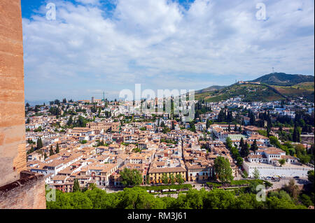 A view over Granada from the Alhambra, a 13th century Moorish palace complex in Spain. Built on Roman ruins, the Alhambra was later inhabited by Chris - Stock Photo
