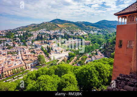 A view over Granada from the Alhambra, a 13th century Moorish palace complex in Granada, Spain. Built on Roman ruins, the Alhambra was later inhabited - Stock Photo