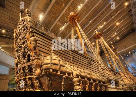 Stern, 17th Century Warship, Vasa Maritime Museum (Vasamuseet), Djurgarden Island, Stockholm, Sweden - Stock Photo