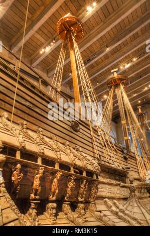 17th Century Warship, Vasa Maritime Museum (Vasamseet), Djurgarden Island, Stockholm, Sweden - Stock Photo