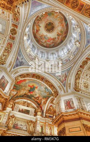 Interior Walls and Ceiling, St Isaac's Cathedral, UNESCO World Heritage Site, St Petersburg, Russia - Stock Photo