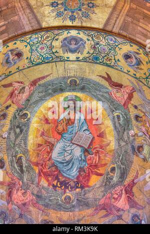 Ceiling Frescoes, Church of the Savior on Spilled Blood, UNESCO World Heritage Site, St Petersburg, Russia - Stock Photo