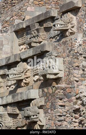 Temple of the Feathered Serpent (Quetzalcoatl), Teotihuacan Archaeological Zone, State of Mexico, Mexico - Stock Photo
