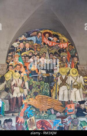 Stairway Murals, ''The History of Mexico'', Painted by Diego Rivera, 1929-31, Palacio Nacional de Mexico, Mexico City, Mexico - Stock Photo