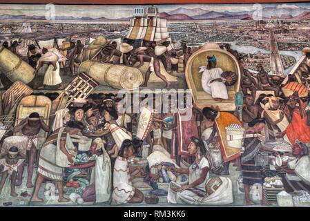 Corridor Mural, ''The Great City of Tenochtitlan'', by Diego Rivera, 1945, Palacio Nacional de Mexico, Mexico City, Mexico - Stock Photo